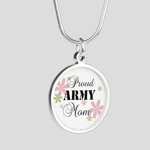 Army Mom [fl] Silver Round Necklace